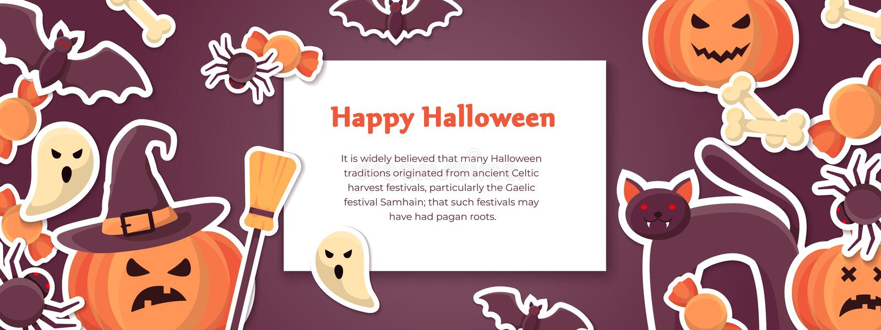 Horizontale glückliche Halloween-Fahnenschablone mit gespenstischen Schlägern, Geistern, Spinnen und Kürbisen lizenzfreie abbildung