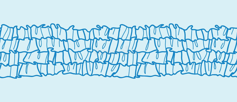Horizontale Grenze der blauen Rüschengewebe-Beschaffenheit stock abbildung