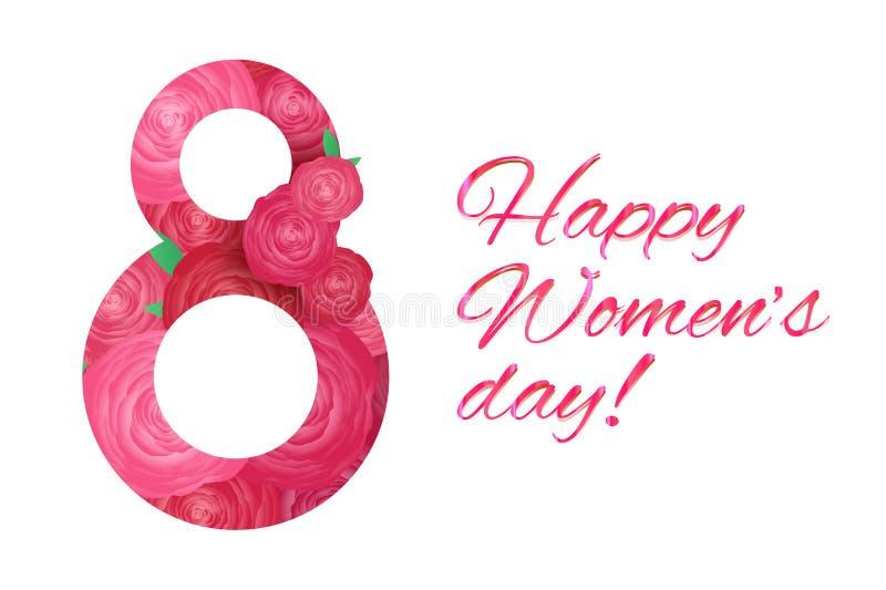 Horizontale groetkaart 8 maart - de dag van vrouwen met roze roze bloemen op witte achtergrond Nummer 8 van bloemen wordt gemaakt vector illustratie