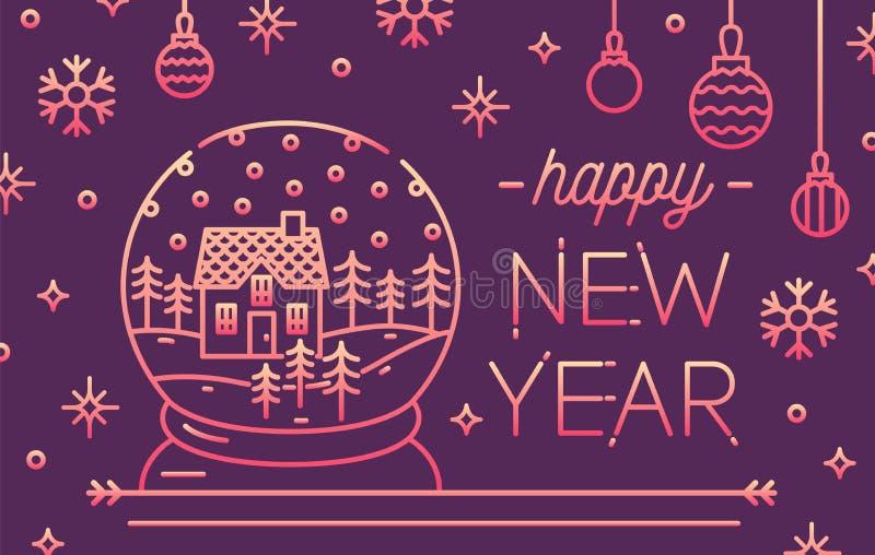 Horizontale Grußkarte oder Einladungsschablone mit guten Rutsch ins Neue Jahr-Beschriftung, Schneekugel mit Hausinnere, Flitter u vektor abbildung