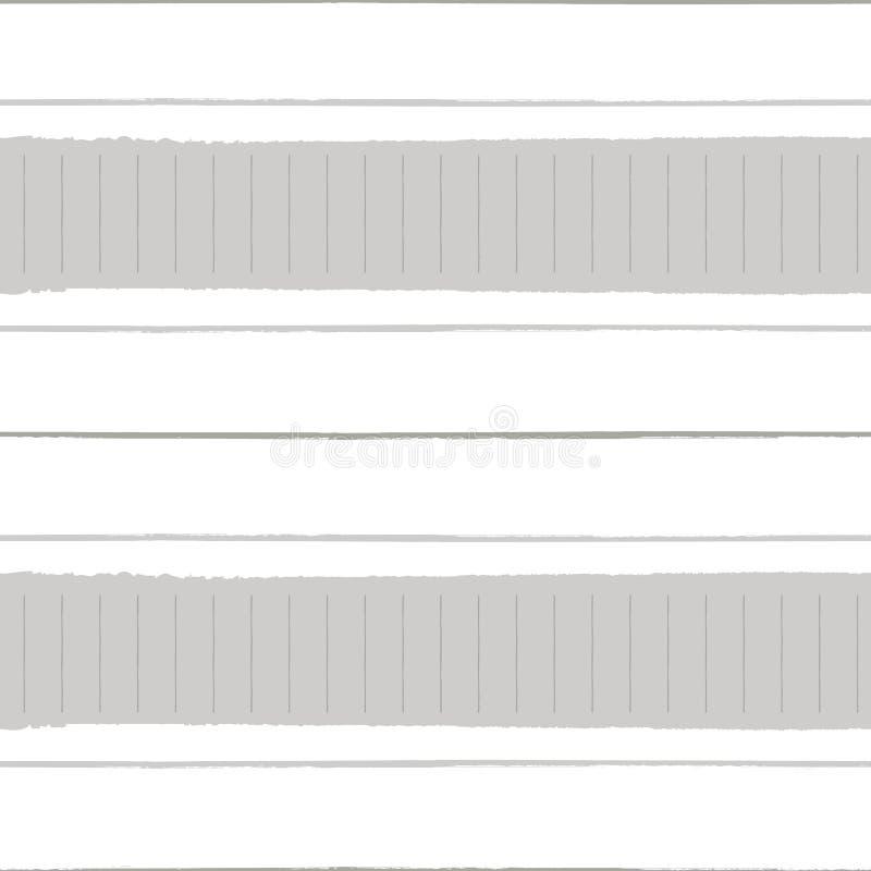 Horizontale heftige Papiereffekt- und Schmutzstreifen in den warmen neutralen Farben Nahtloses geometrisches Vektormuster auf Wei lizenzfreie abbildung