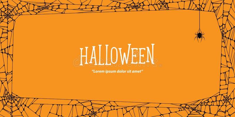 Horizontale het kader zwarte spinneweb en spin van Halloween op oranje bedelaars stock illustratie