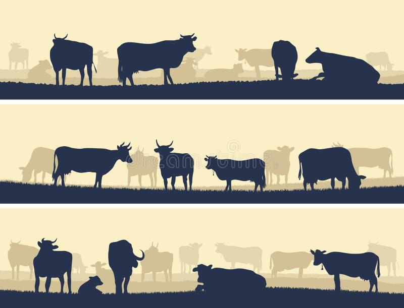 Horizontale illustratie van landbouwbedrijfhuisdieren. stock illustratie