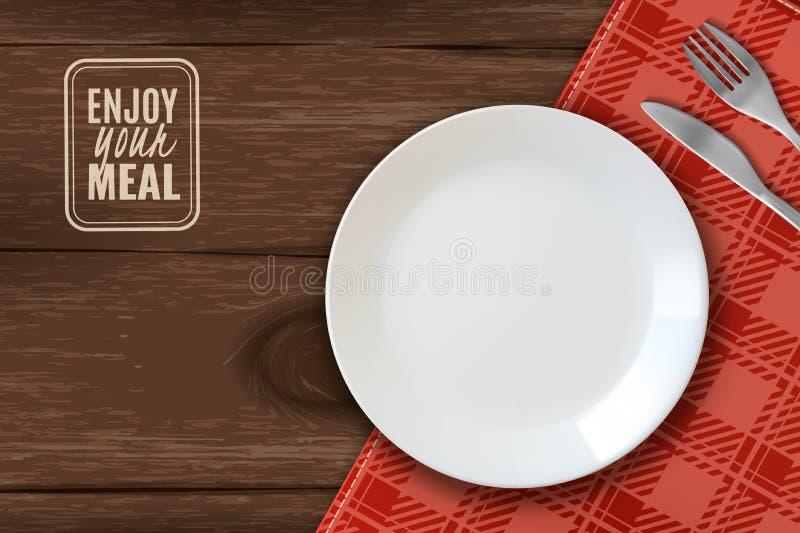Horizontale Illustration der realistischen Platte weiße saubere Platte auf Holztisch mit Messer und Gabel, die Ihnen Bon appetit  lizenzfreie abbildung