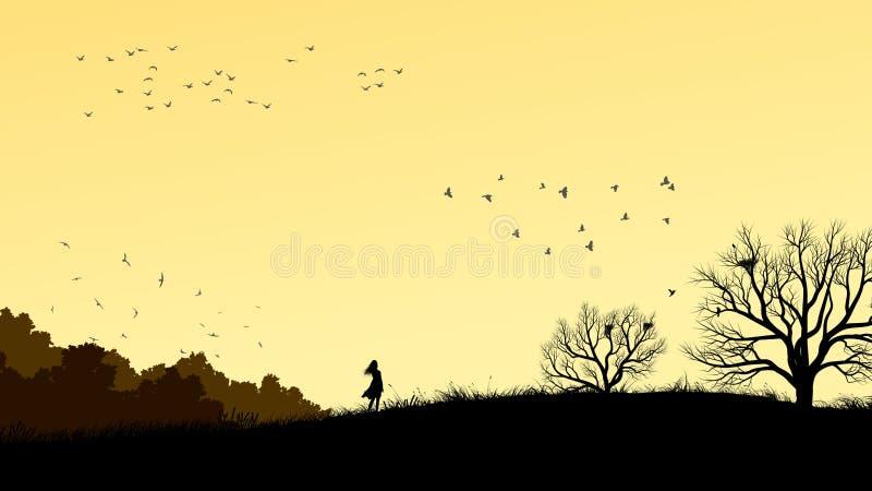Horizontale Illustration des Mädchens auf dem Gebiet windswept lizenzfreie abbildung