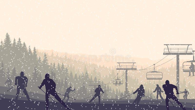 Horizontale Illustration von Skifahrern in den Morgenhügeln Koniferenfo stock abbildung