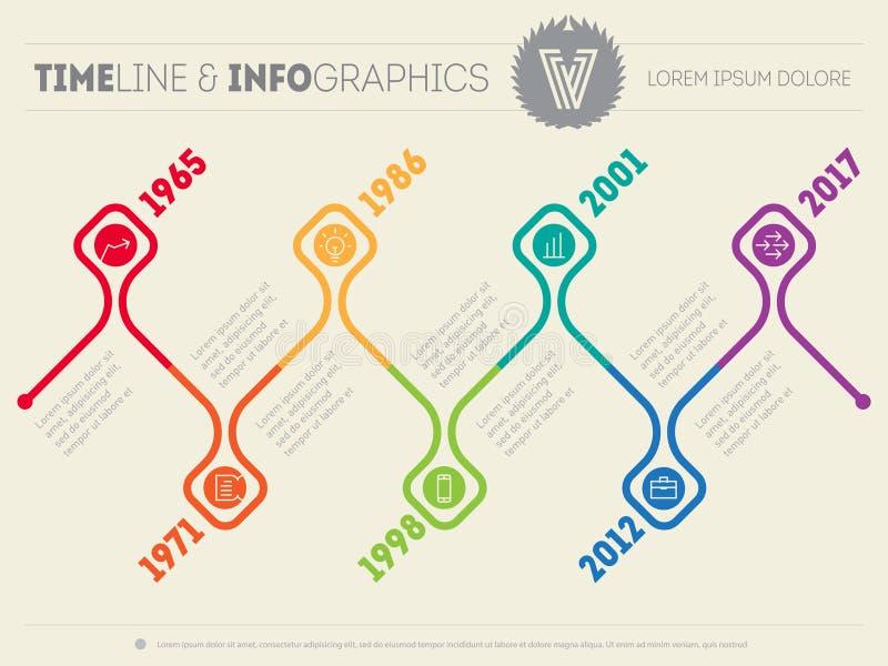 Horizontale Infographic-chronologie Het vectorwebmalplaatje voor presen vector illustratie