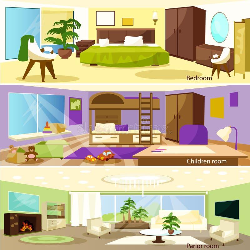Horizontale Karikatur-Wohnzimmer-Innenraum-Fahnen vektor abbildung