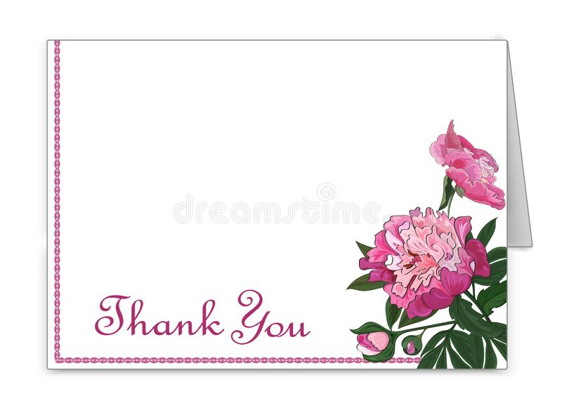 Horizontale Karte mit Pfingstrosenblumen Einladung, Glückwünsche, Aufmerksamkeitszeichen Vektor stock abbildung