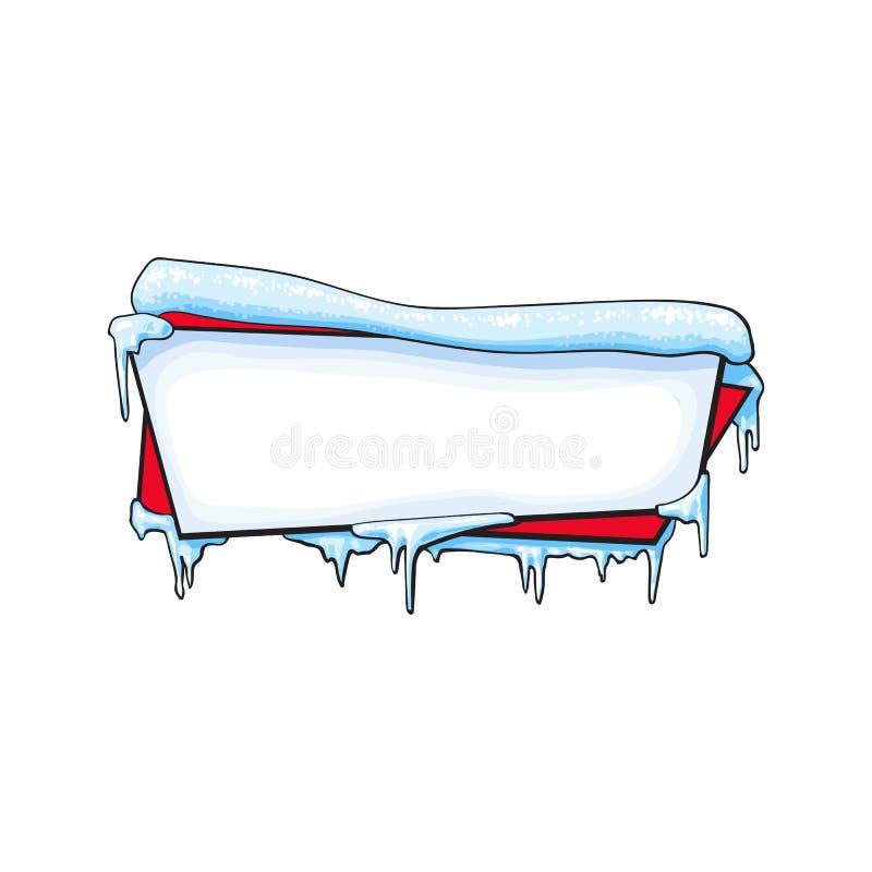Horizontale Kerstmis, de winterbanner met ijs en sneeuw vector illustratie