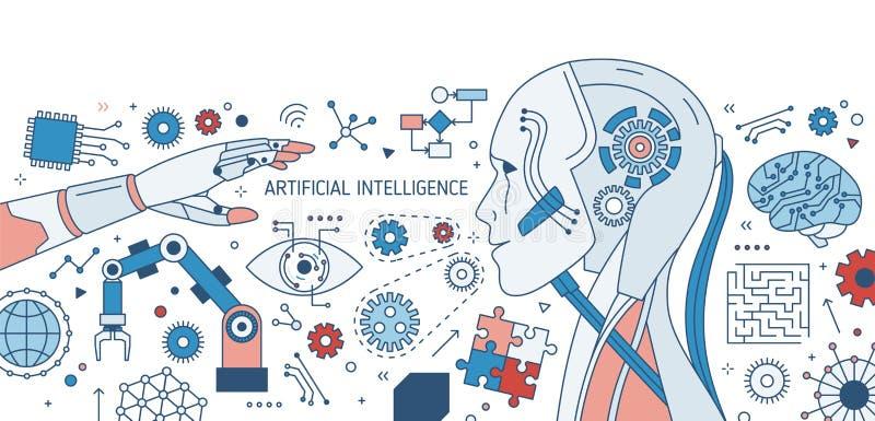Horizontale kleurrijke banner met robot of androïde, robotachtig wapen, innovatieve elektronische apparaten en toestelwielen op w royalty-vrije illustratie