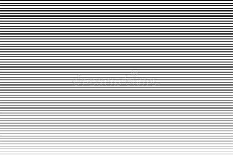 Horizontale Linie Zeichnet Halbtonmuster mit Steigungseffekt Schwarzweiss-Streifen lizenzfreie abbildung