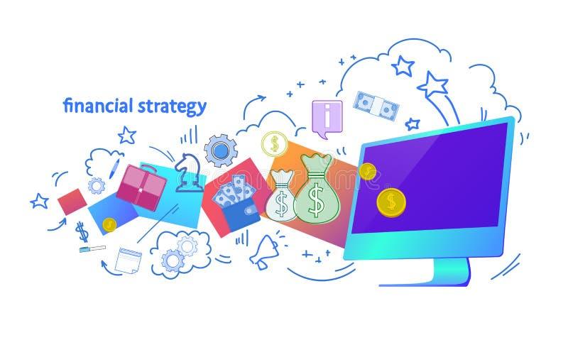 Horizontale lokalisierte Skizze des Finanzstrategieon-line-Unternehmensplanungs-Konzeptes vektor abbildung