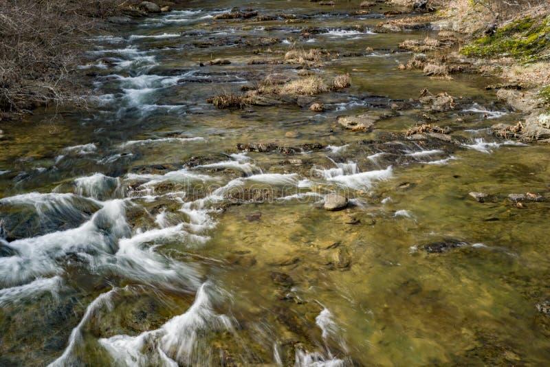 Horizontale Mening Jennings Creek, Botetourt-Provincie, Virginia, de V.S. stock foto's