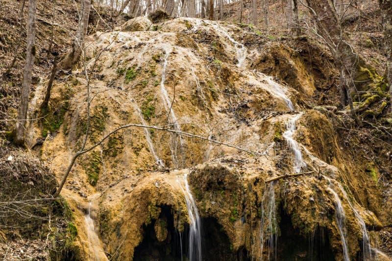 Horizontale Mening van een Grote Travertijnwaterval stock afbeeldingen