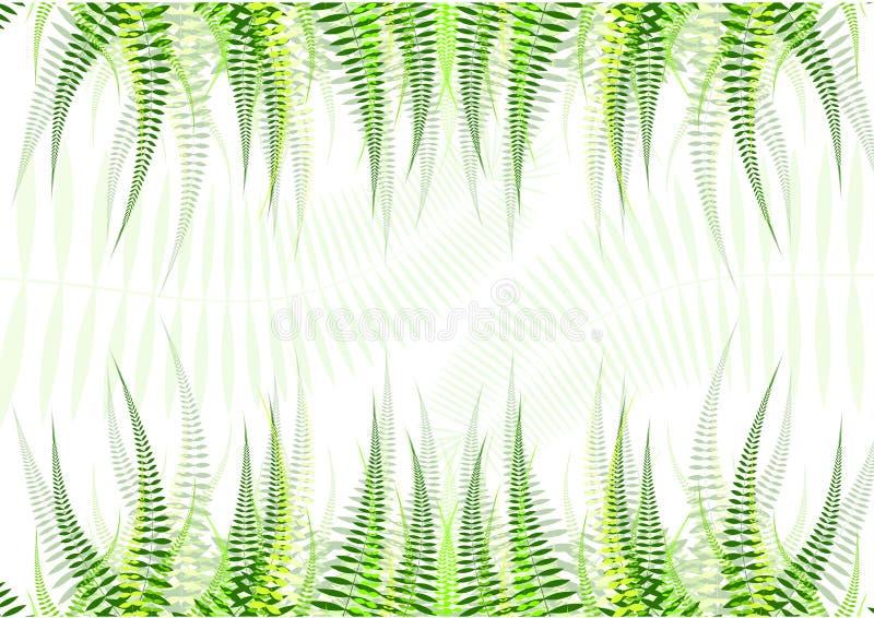 Horizontale naadloze achtergrond met groene bladeren stock illustratie