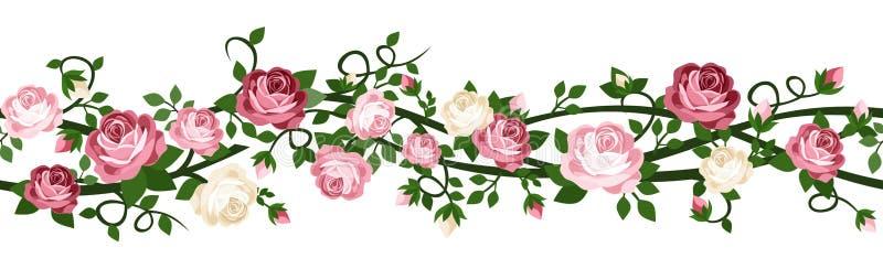 Horizontale naadloze achtergrond met rozen. vector illustratie