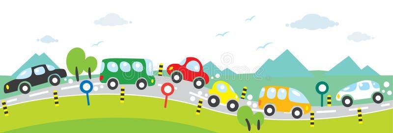 Horizontale naadloze achtergrond van Auto's op de weg vector illustratie