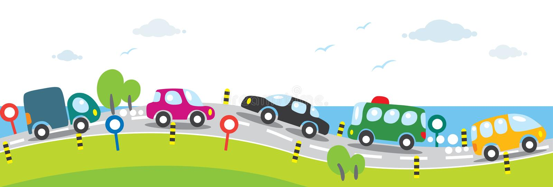 Horizontale naadloze achtergrond van Auto's op de weg stock illustratie