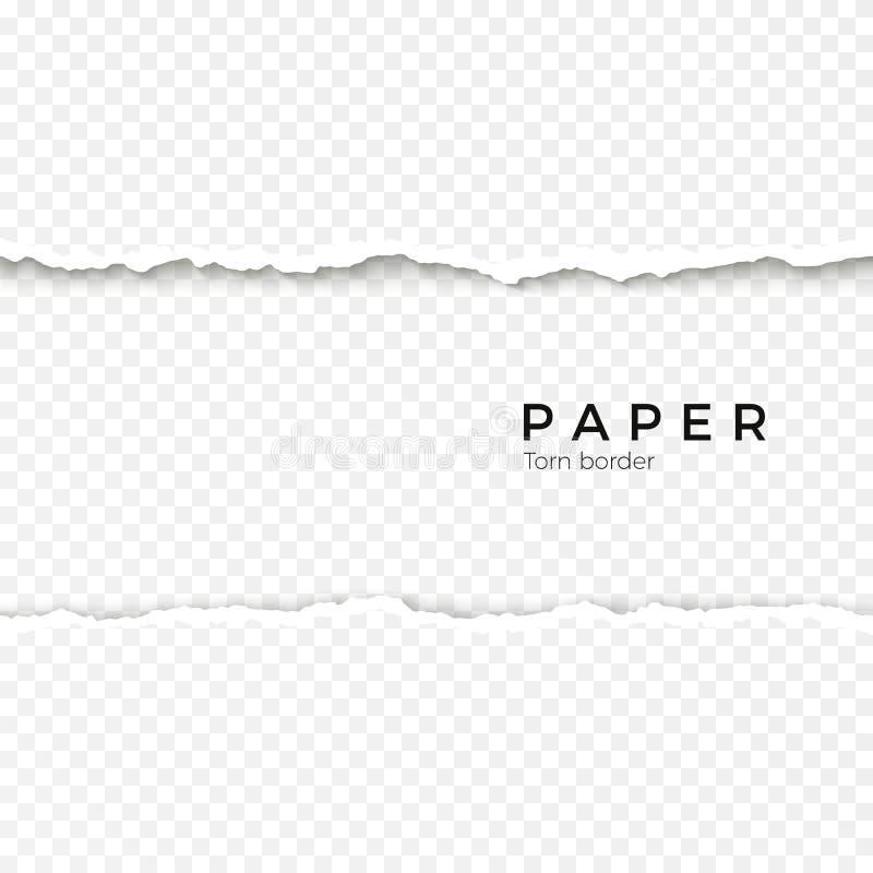 Horizontale naadloze gescheurde document rand Ruwe gebroken grens van document streep Vector illustratie stock illustratie