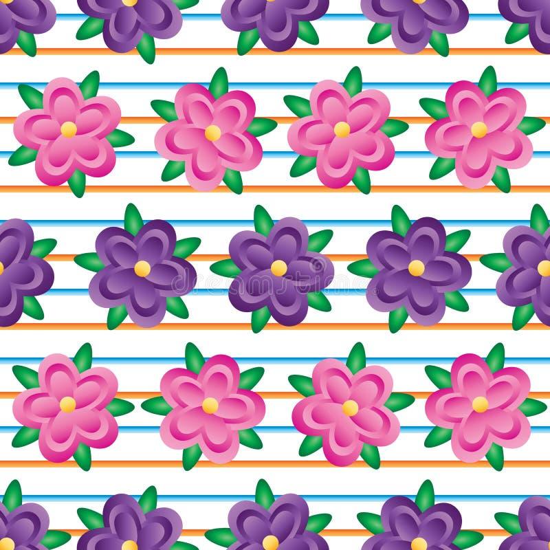 Horizontale naadloze patroon van de bloem het purpere roze gradiënt vector illustratie