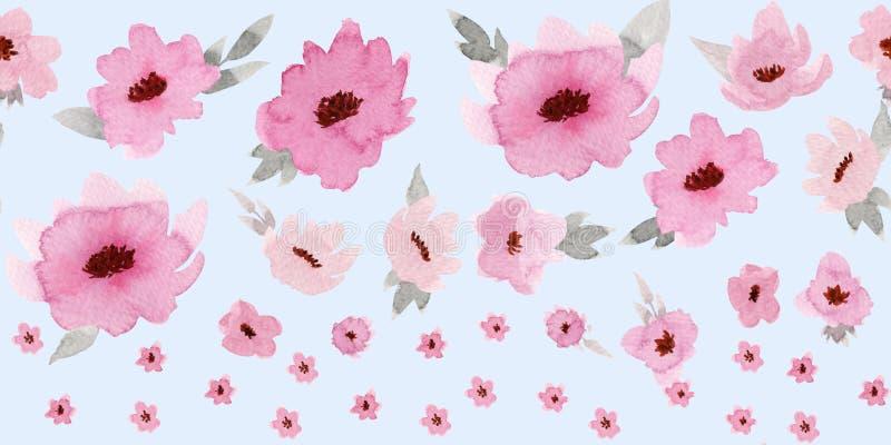 Horizontale nahtlose Grenze mit rosafarbenen Pastellblumen auf Babyblauhintergrund stockfotografie