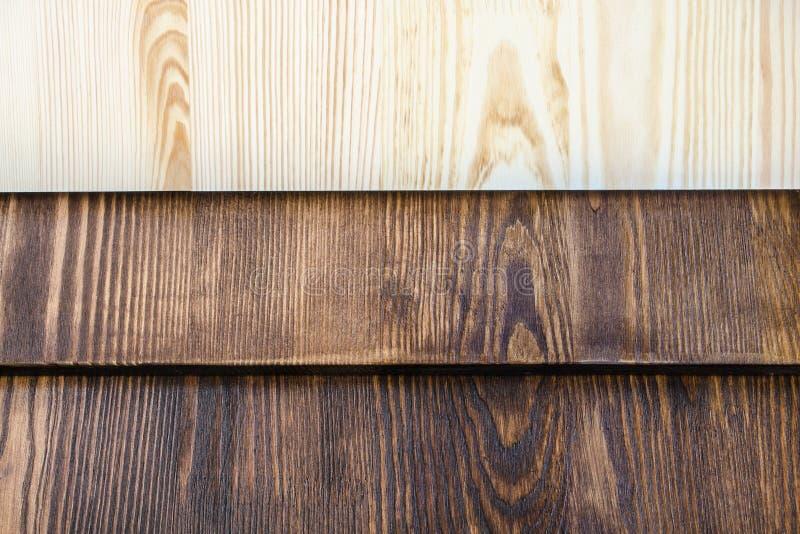 Horizontale raad van hout in drie kleuren stock foto
