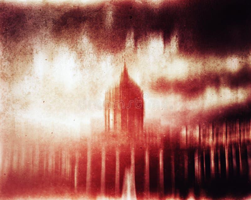 Horizontale rode uitstekende de abstractieachtergrond van cyberpunkcapitol stock illustratie