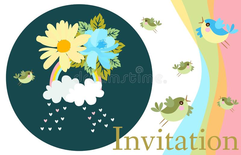 Horizontale Schablone der Einladungskarte mit lustigen Vögeln, Wolken, Regenbogen, Herzen, Gartenblumen Schöne Vektorillustration vektor abbildung