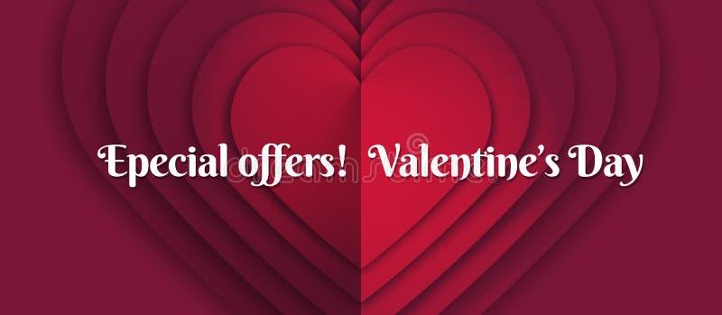 Horizontale Schablone mit Entwurf für Heilig-Valentinstag Förderungs- und Verkaufsfahnen, Kupons, Geschenkkarten und Aufkleber vektor abbildung
