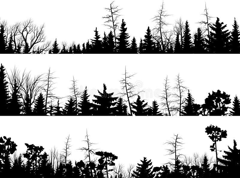 Horizontale Schattenbilder von Nadelbäumen. stock abbildung