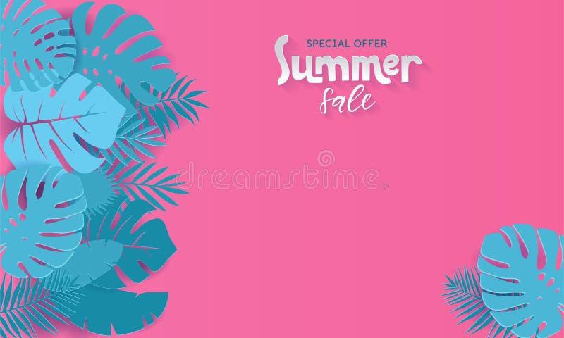 Horizontale Sommerschlussverkauffahne mit Papier schnitt tropische Bl?tter auf rosa Hintergrund Exotisches Blumenmuster für Fahne lizenzfreie abbildung