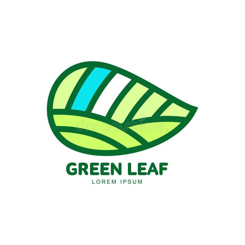 Horizontale spitze grüne Blattlogoschablone, Vektorillustration stock abbildung