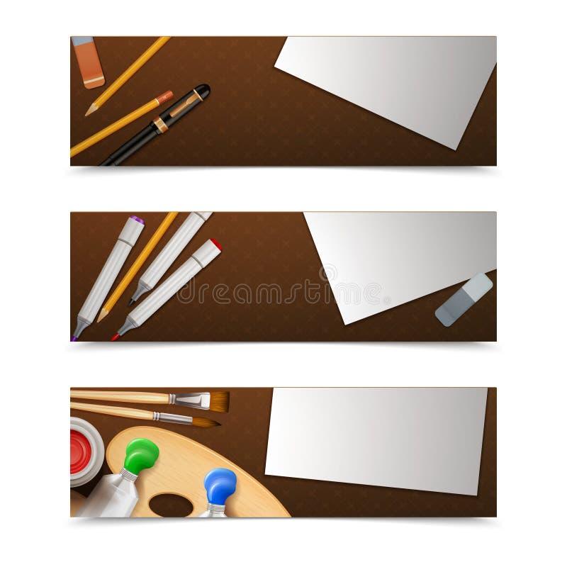 Horizontale tekeningsbanners vector illustratie
