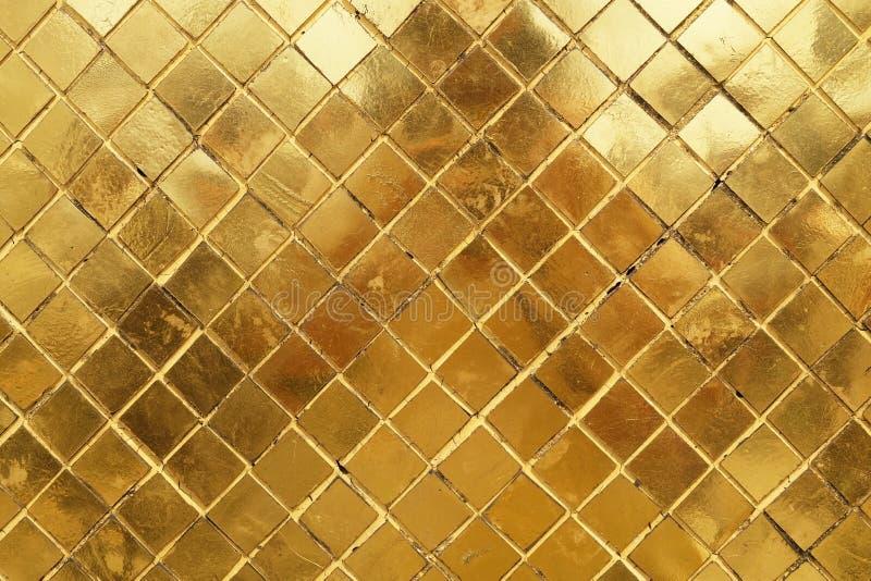 Horizontale Textuur van de Gouden Achtergrond van de Mozaïekmuur royalty-vrije stock foto's