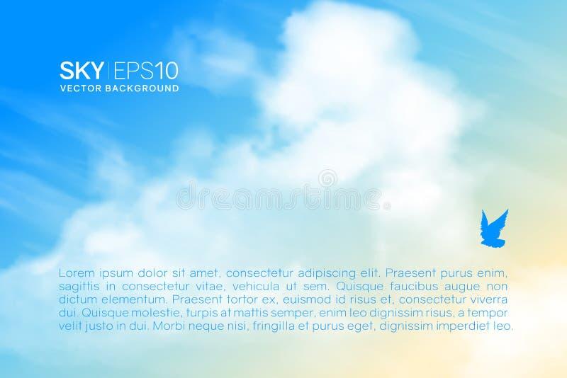 Horizontale vectorachtergrond met realistische beige-blauwe hemel en wolken stock illustratie