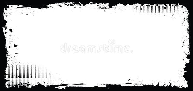 Horizontale vectorhalloween-bannerachtergrond met grungegrens vector illustratie