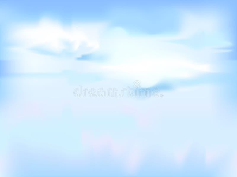 Horizontale vectorhemel - blauwe abstracte achtergrond royalty-vrije illustratie