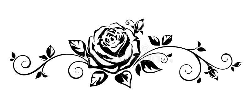 Horizontale Vignette mit einer Rose Auch im corel abgehobenen Betrag stock abbildung