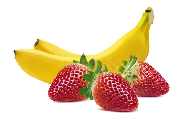 Horizontale Zusammensetzung mit zwei Bananen Erdbeerlokalisiert auf Weiß lizenzfreie stockbilder