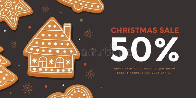 Horizontaler Fahne Weihnachtsverkauf mit Lebkuchenhaus Schablonen-Neujahrsgeschenkzertifikat und Rabattkupon vektor abbildung