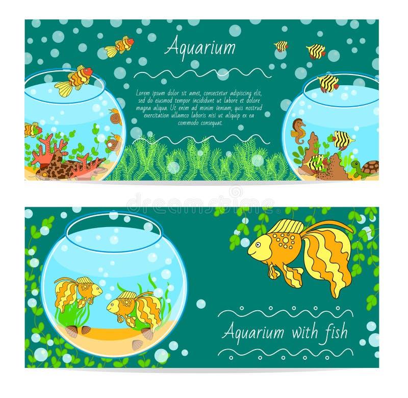 Horizontaler Fahnensatz mit Aquarium und Fische Underwater lokalisierte Vektorillustration lizenzfreie abbildung