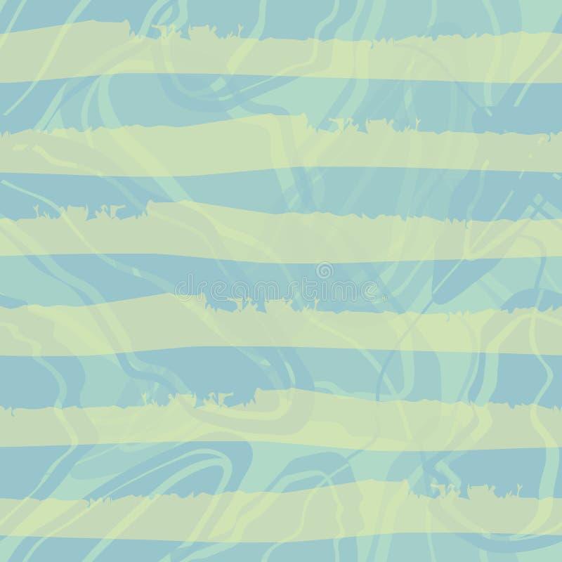 Horizontaler gestreifter Pastellentwurf des blauen und grünen Watercolour Nahtloses Vektormuster auf blauem gemarmortem Strudelh stock abbildung