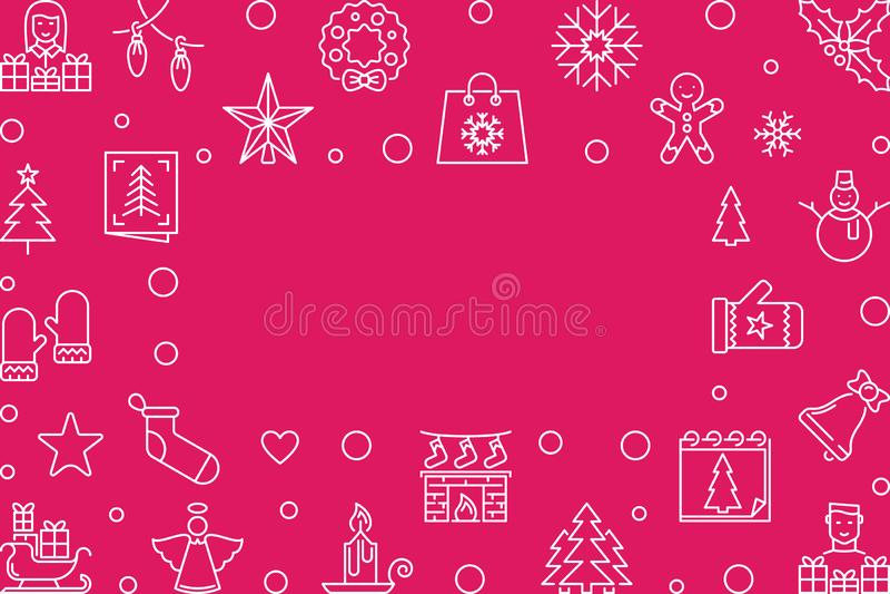 Horizontaler Hintergrund des roten Entwurfs des Vektors der frohen Weihnachten vektor abbildung