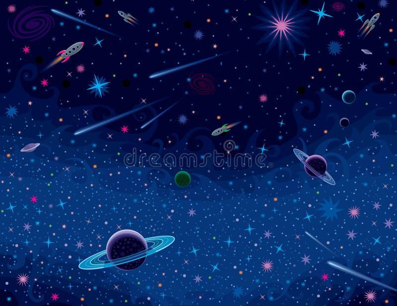 Horizontaler kosmischer Hintergrund lizenzfreie abbildung