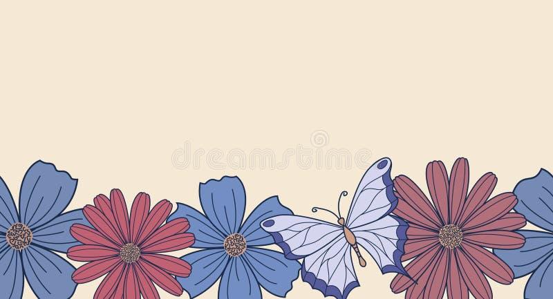 Horizontaler nahtloser Hintergrund mit Blumen lizenzfreie abbildung