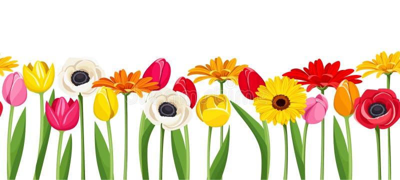 Horizontaler nahtloser Hintergrund mit bunten Blumen Auch im corel abgehobenen Betrag vektor abbildung
