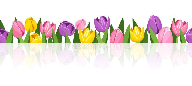 Horizontaler nahtloser Hintergrund mit bunten Tulpen lizenzfreie abbildung