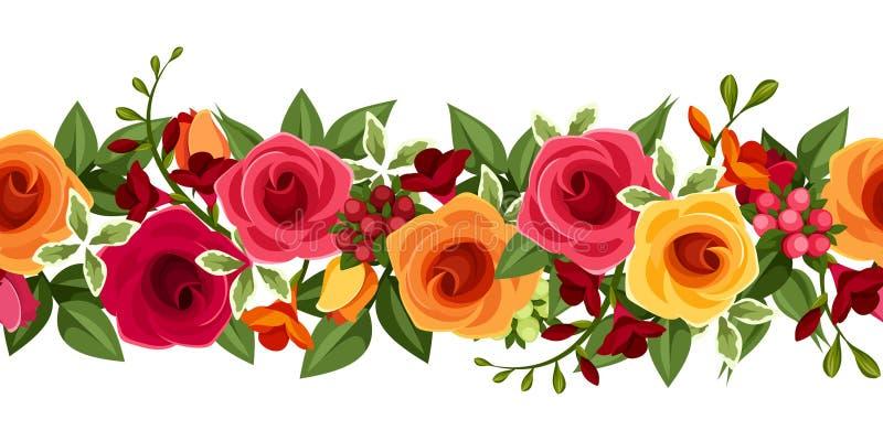 Horizontaler nahtloser Hintergrund mit den roten und gelben Rosen und Freesie Auch im corel abgehobenen Betrag stock abbildung