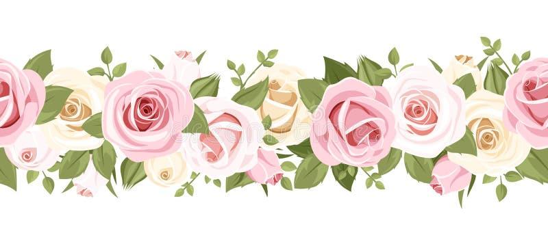 Horizontaler nahtloser Hintergrund mit rosa Rosen. Vektorillustration. vektor abbildung